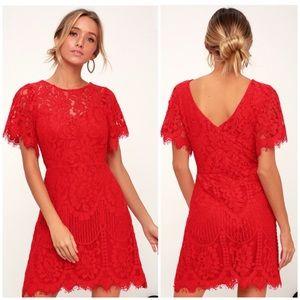 Lulu's Pearson Red Lace Mini Dress